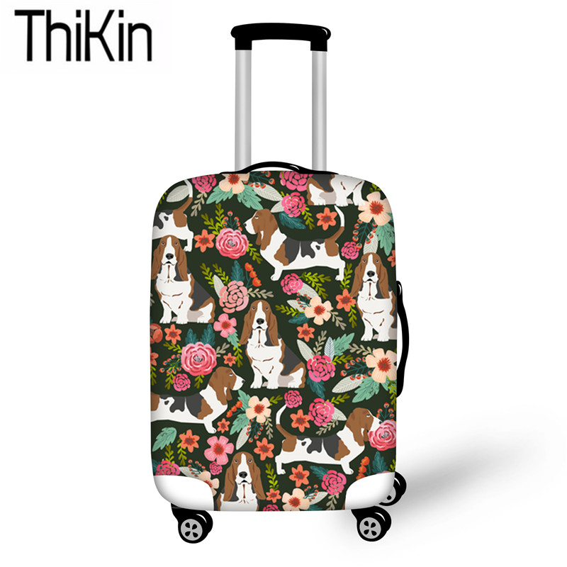 THIKIN Travel Luggage Covers For Suitcase Dustproof Protective Cute Basset Hound Printing Elastic Trolley Case Cover 18-30 Inch