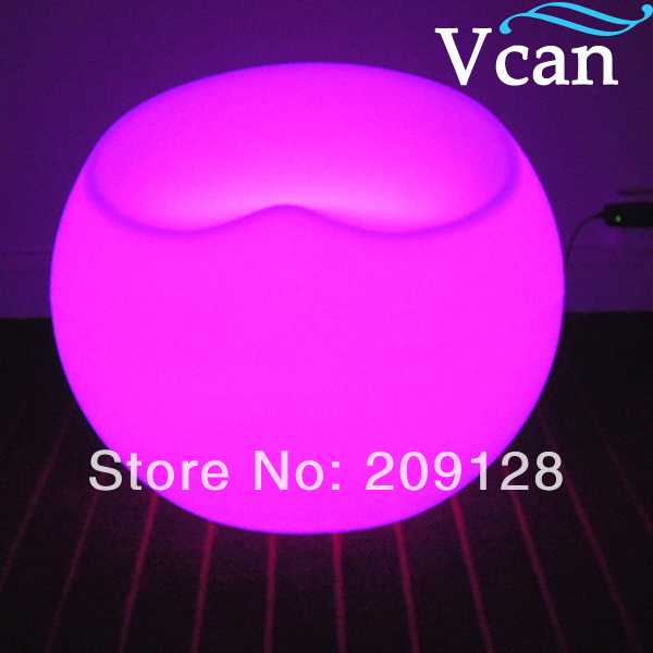 Outdoor indoor Plastic LED Light colours change remote control rechargeable apple seat Chair furniture for bar VC-S5647 2016 led cube chair outdoor furniture plastic white blue red 16coours change flash control by remote led cube seat lighting