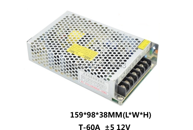 T-60A Free Shipping60W MINI triple Output Switching power supply Output Voltage 5V -5V 12V AC-DC T-60A