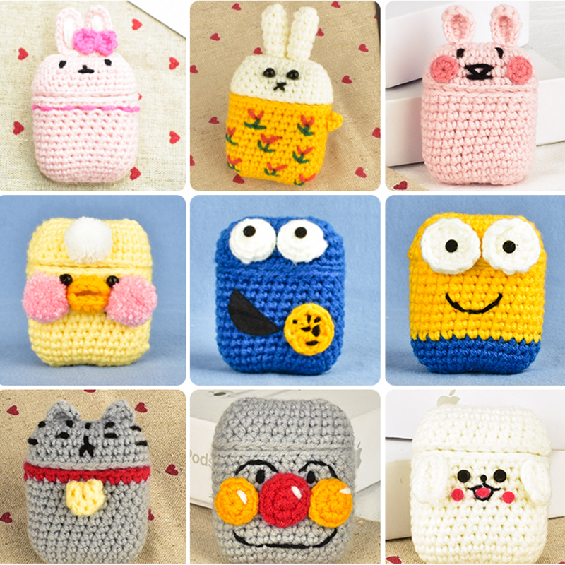 Cartoon Cute Knitting Earphones Case for Apple Airpods Case Accessories Bluetooth Earphones Handmade Case Protective Cover Decor in Earphone Accessories from Consumer Electronics