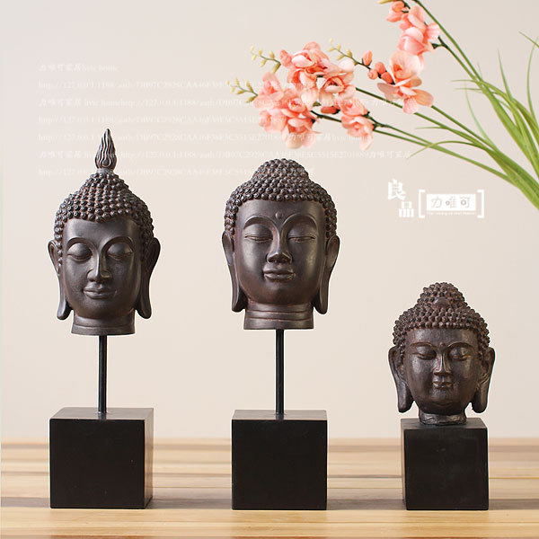 Buddha Craft Decorations Sets Of Three Thai Buddha Head Ornaments Chinese Buddhism Gifts Home Accessories