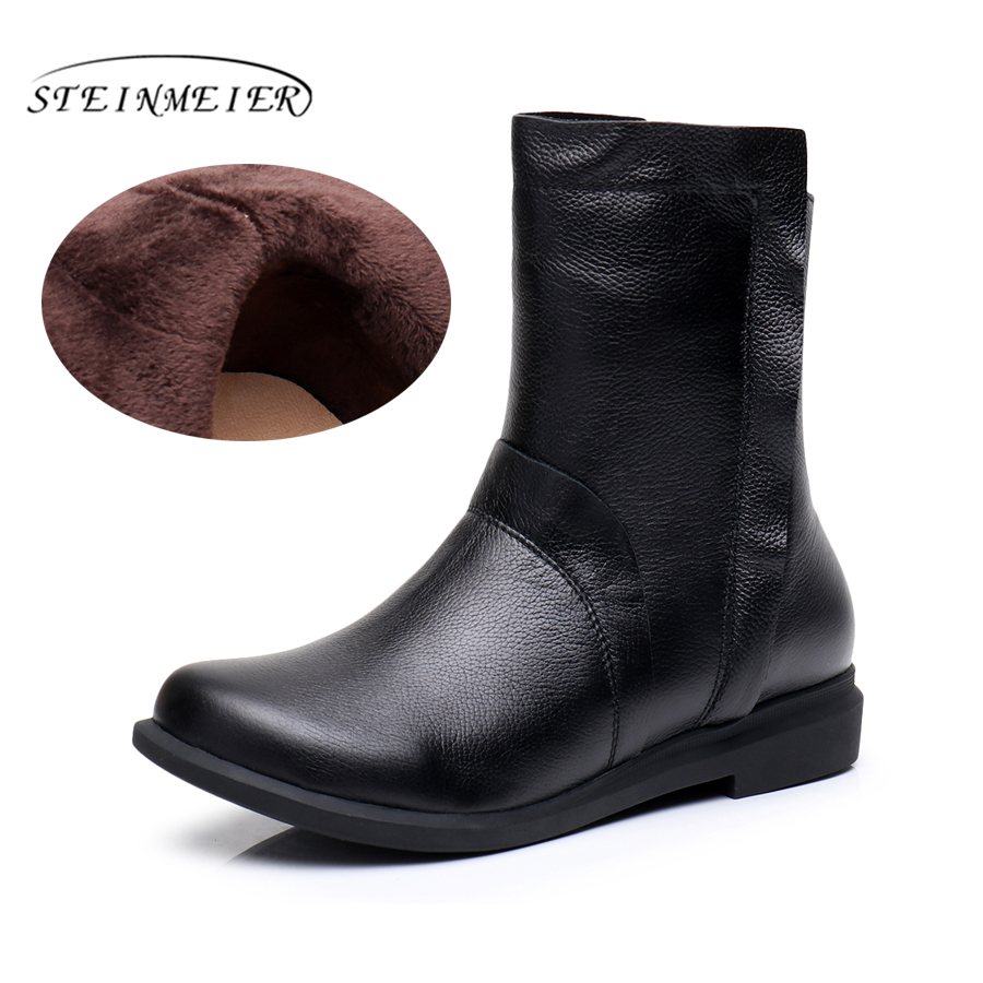 Woemn Genuine Leather mild-calf Boots retro Handmade zipper Comfortable soft woman Shoes 2017 boots