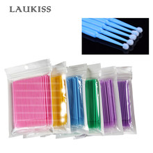 100pcs/lot Micro Brushes Eyelash Extension Eye Lash Glue Brushes Lint Free Make Up Disposable Applicators Sticks Makeup Tools(China)