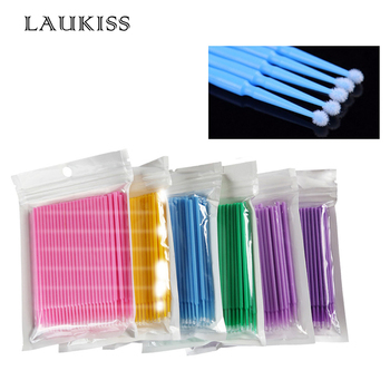 100pcs/lot Micro Brushes Eyelash Extension Eye Lash Glue Brushes Lint Free Make Up Disposable Applicators Sticks Makeup Tools