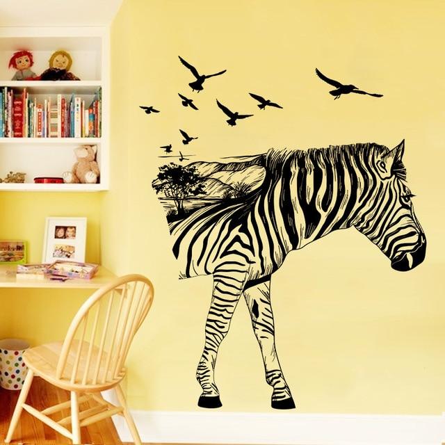 Creative zebra birds large wall stickers decals kids room decor ...