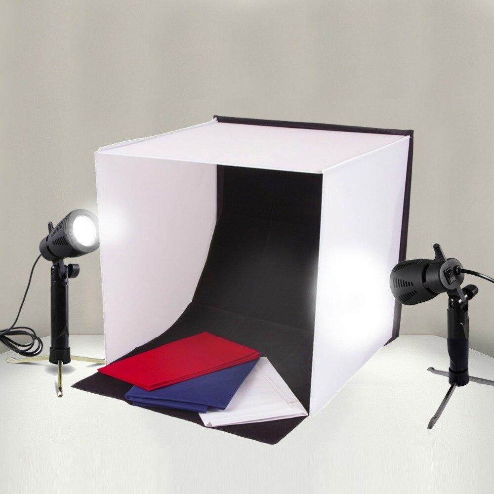 Wrumava 40*40cm Folding Lightbox Table Top Photo Photography Studio Softbox LED Light Photo Studio soft box Shooting Tent Kit 3 in 1 corner rounder