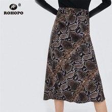 ROHOPO Snake Skin Printed Midi Skirt High Waist Pleated Multiways Serpentine Flare Vintage Skirt Falda #AZ9102 high waist printed africa skirt