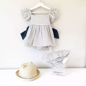 2017 Little Baby Girls Striped Sets Toddler Striped Bow Dress with Cotton Short pants Childrens Fashion Outfits Kids clothing