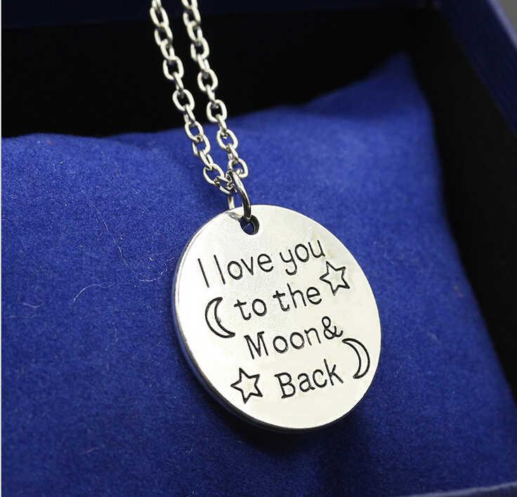 親友アイ·ラヴあなたにムーンとバックペンダントチェーンネックレス手作りのファッションジュエリーギフトのための女性ネックレス