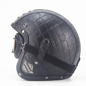 Image 3 - Dorosłych skórzane kaski 3/4 kask motocyklowy wysokiej jakości rower chopper kask otwarta twarz rocznika motocros