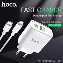 hoco wall charger for PD QC3.0 FCP AFC fast charge support adapter USB Type C output EU plug for iPhone Samsung Xiaomi Huawei все цены