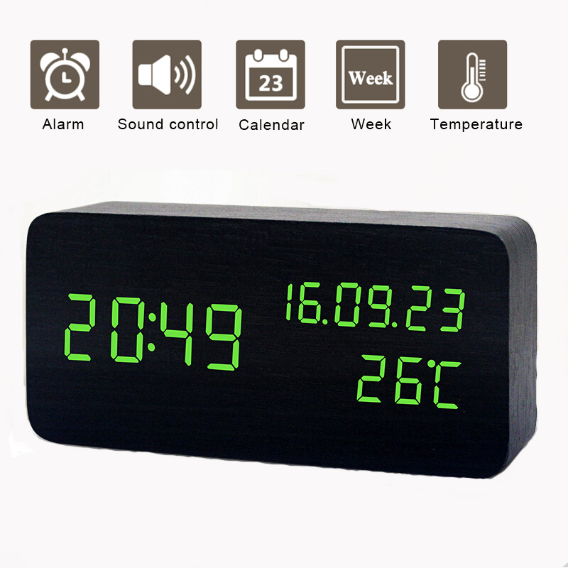 LED Intelligent Sound Control Awaken Clock Luminous Mute Calendar Batteries USB Charge Plastic Alarm Clock