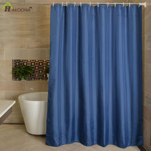 HAKOONA Solid Color Navy Blue Bathroom Shower Curtain Polyester Fabric 12 Plastic Hooks