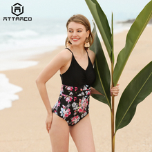 Attraco Women Swimwear Monokini One-piece Swimsuit Floral Backless V-Neck Print Bathing Suit Deep Plunge Beachwear New printed backless plunge neck swimsuit