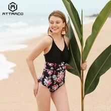 цена на Attraco Women Swimwear Monokini One-piece Swimsuit Floral Backless V-Neck Print Bathing Suit Deep Plunge Beachwear New