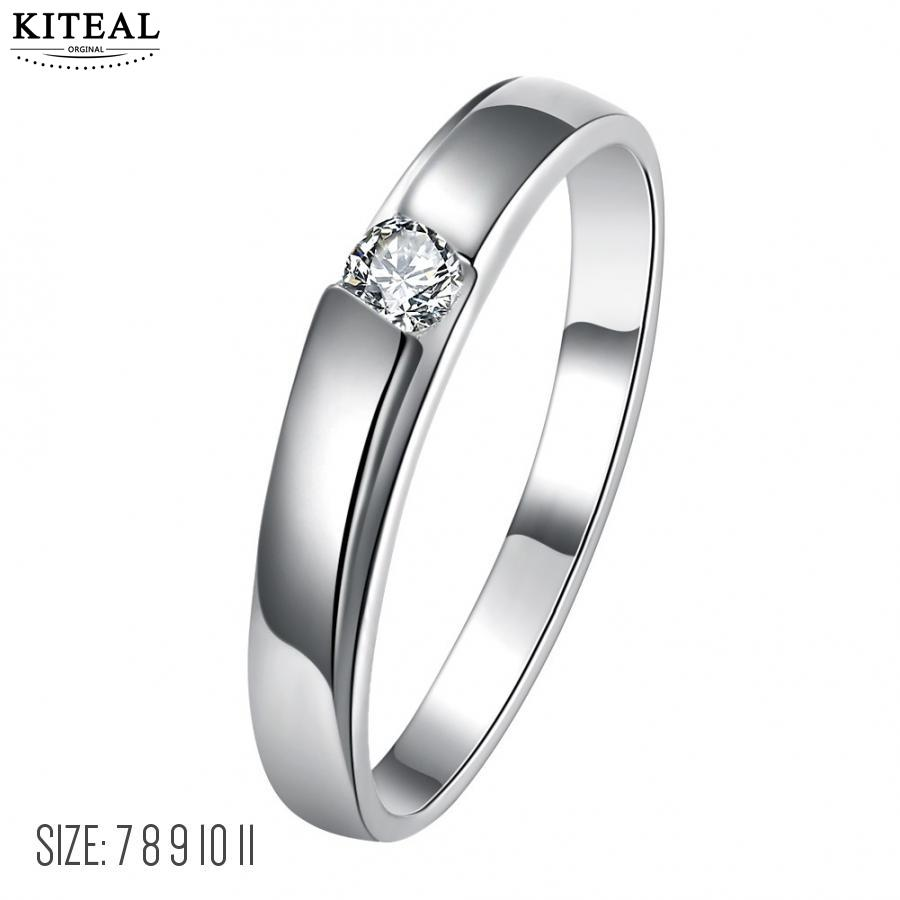 KITEAL Newest silver plated size 10 11 7 8 9 engagement ring for man simple zircon ring men bijoux