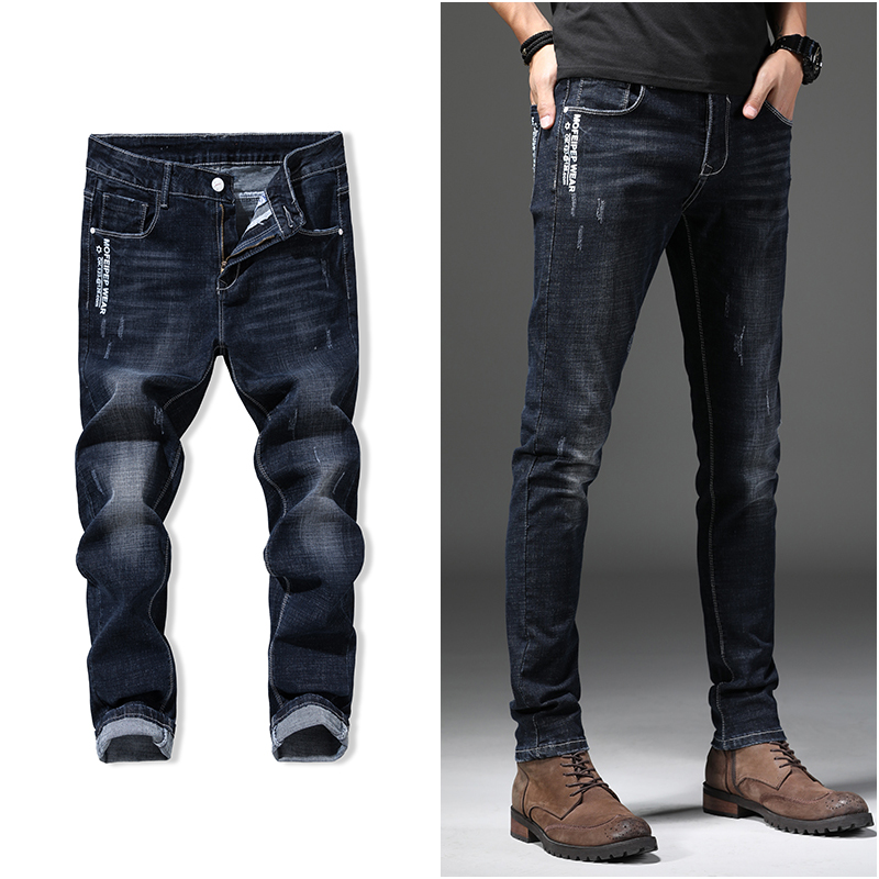 Black tight-fitting mens jeans summer elastic regular fit mens denim jeans casual elastic slim quality mens softener jeans tr