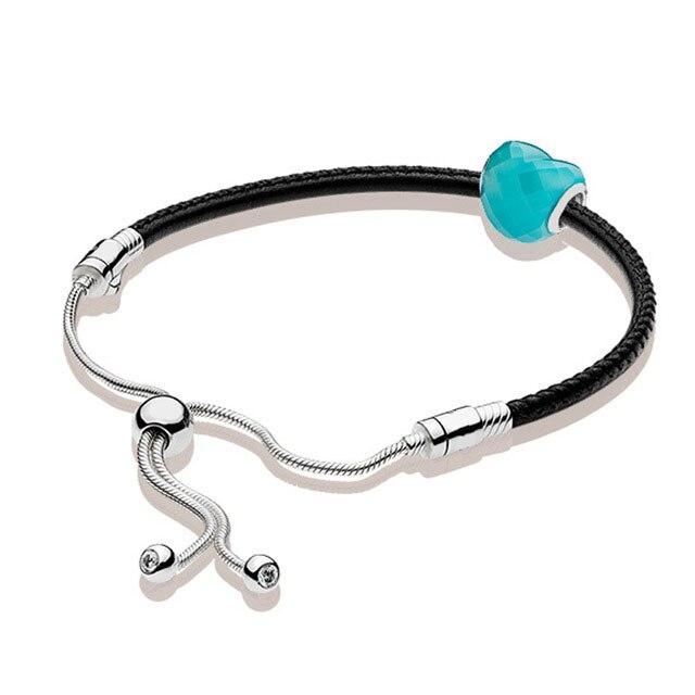 100% 925 argent Sterling 1:1 véritable été de base en cuir bracelet à main bleu amour perlé Glamour Original femmes bijoux cadeau