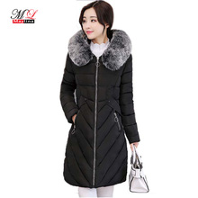 MayLina 2017 New Women Winter Long Jacket Faux Fox Fur Collar Hooded Woman Parka Womens Cotton Padded Coats Casual Thick Jacket