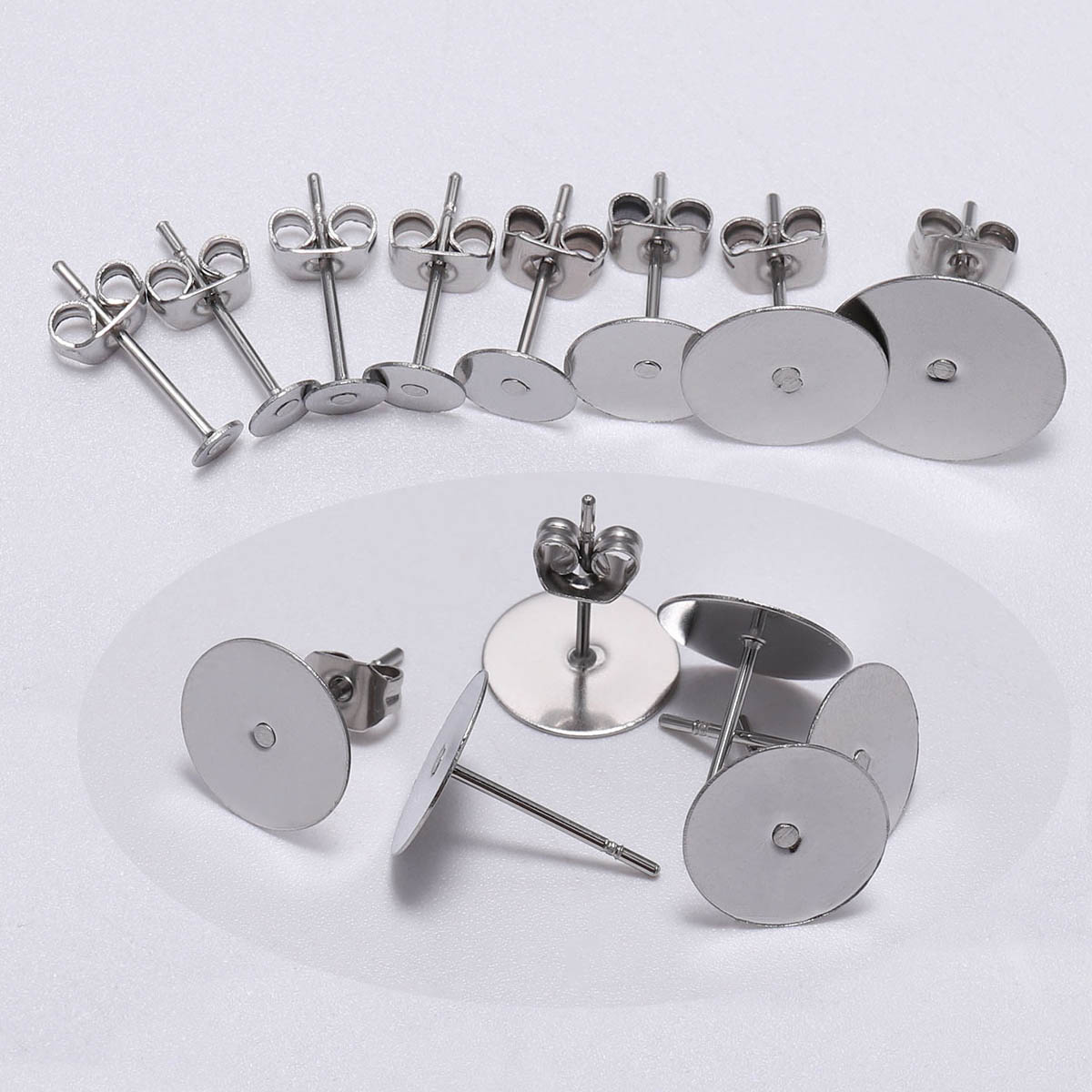 100pcs/lot Stainless Steel Blank Post Earring Stud Base Pins With Earring Plug Supplies For Jewelry Making DIY Earrings Findings