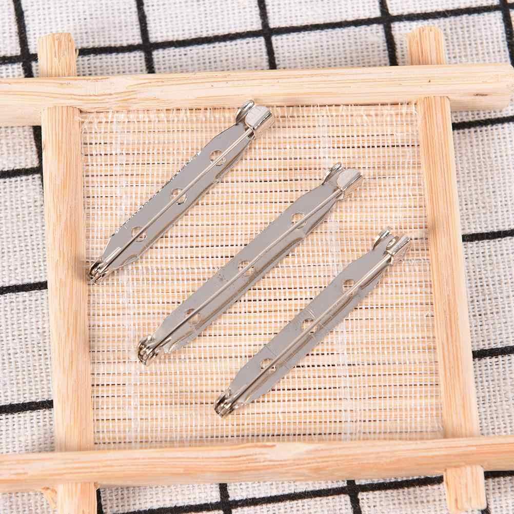 20 Buah/Banyak Bros Dasar Belakang Bar Pin Temuan Perhiasan Membuat Buatan Tangan DIY Hadiah untuk Wanita Pria Putih K Nada Besi logam