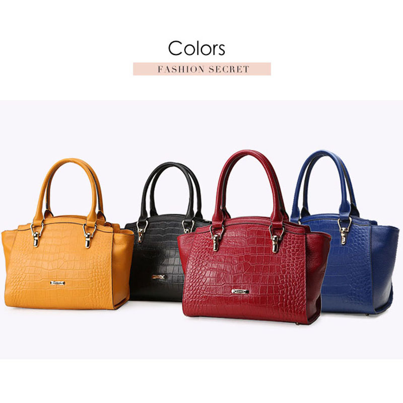 10a01bccc6 HONGU Luxury Genuine Cow Leather Women Totes Handbags Fashion Crocodile Bag  Shoulder Messenger Crossbody Bags Female Handbag bag-in Top-Handle Bags  from ...