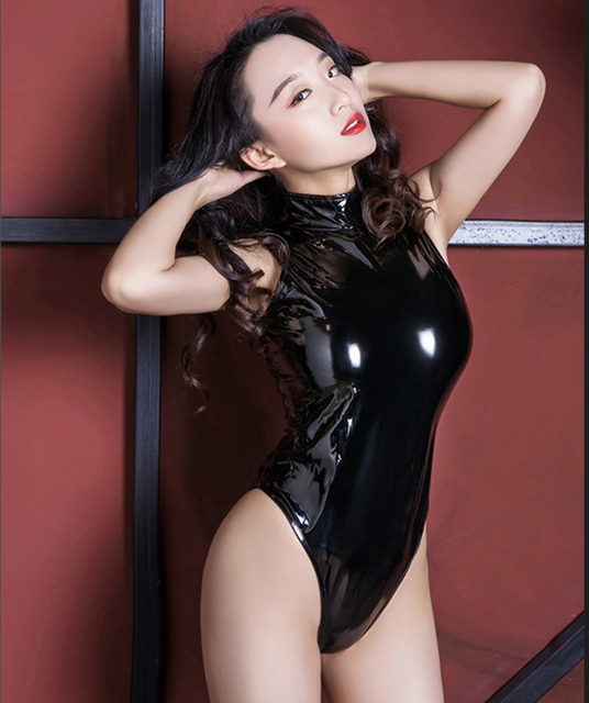 67106e28001 High Cut Swimsuit High Neck Halter Bodysuit Shiny One Piece Swimwear Body  Suit Latex Catsuit Sexy