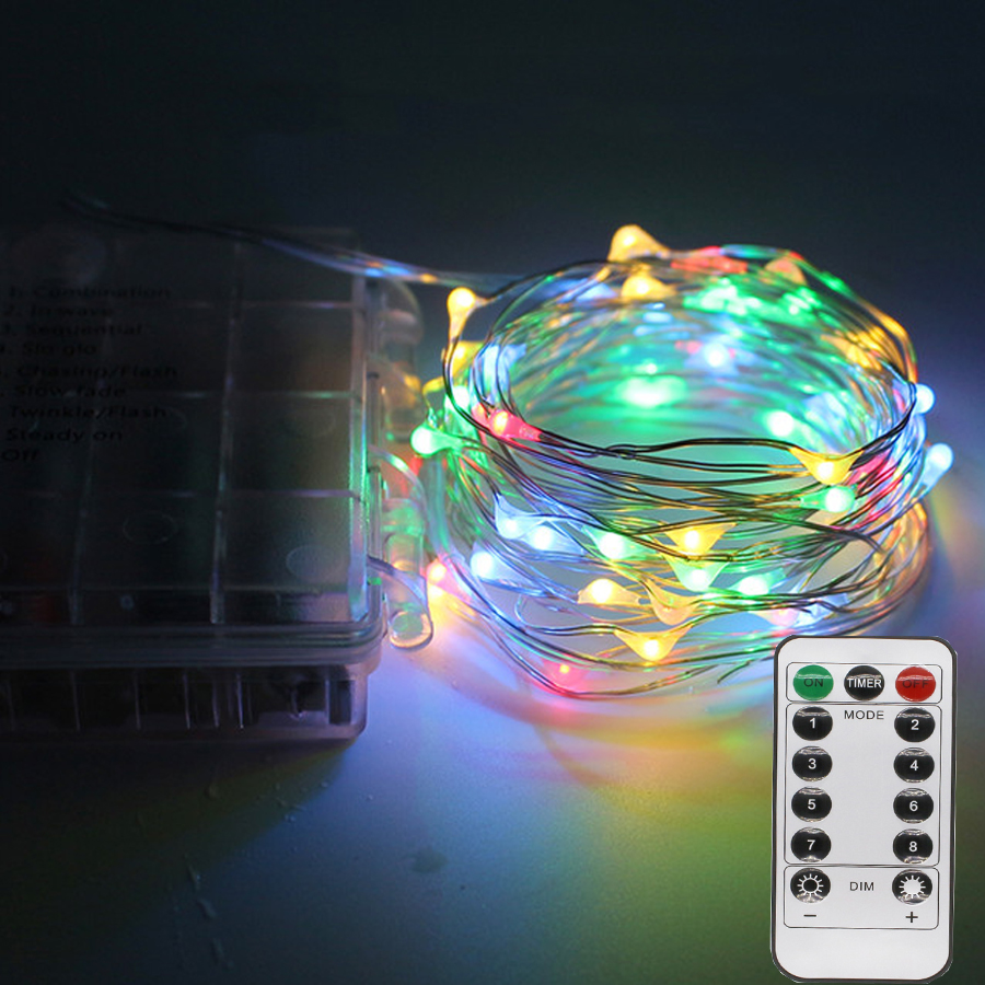 Outdoor String Lights With Remote : 5M 10M RGB Led Christmas String Light With Remote Controller Battery Powered LED Copper Wire ...