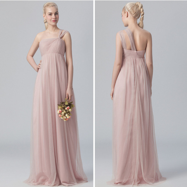 42b99a5136c Bridesmaid Dresses English Rose One-shoulder Tulle Dress Neckline  Sleeveless Floor-length Hemline (