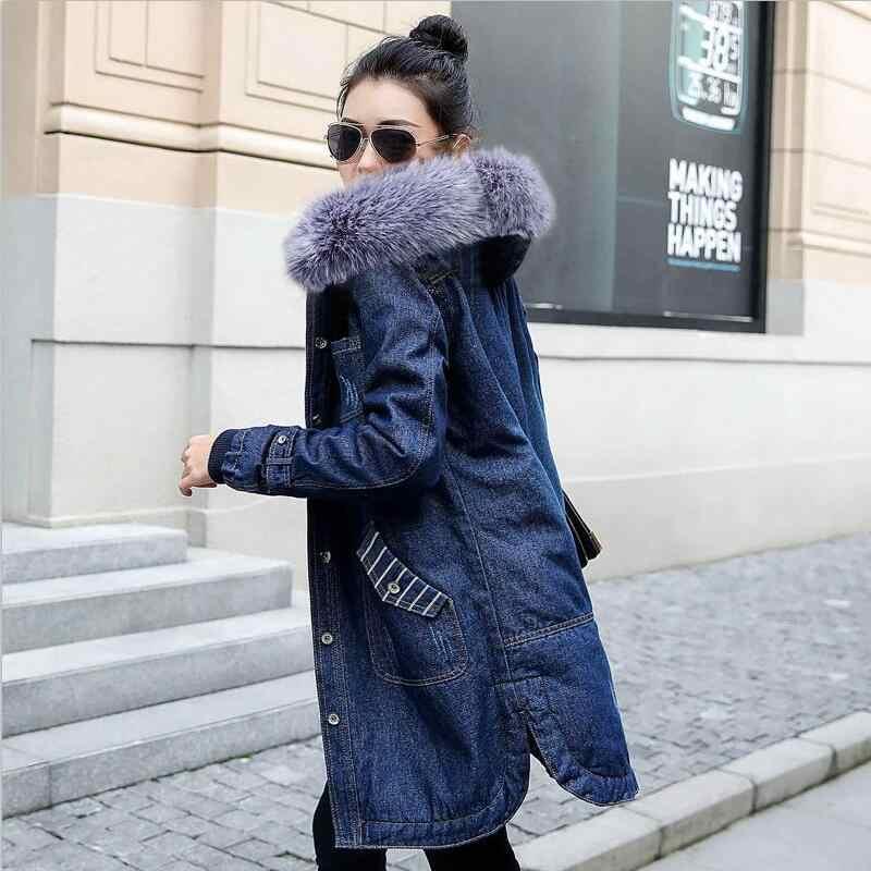 Herfst Winter Vrouwen jean jas Bont voering Denim Jas voor Vrouwen Plus size 5XL Hooded Jean Jas Vrouwelijke Warme Denim lange Uitloper