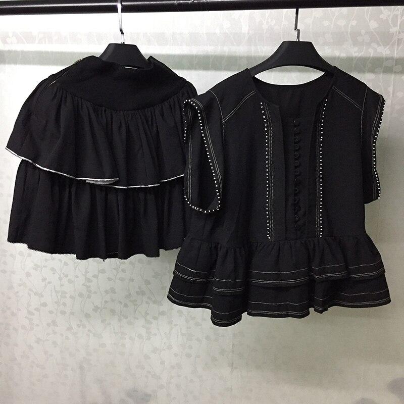 D'été Pièces Noir Femmes Deux Chemise Ensembles Costume Blouse Casual Mini Ensemble Et Jupe 2019 4CxCwqzf