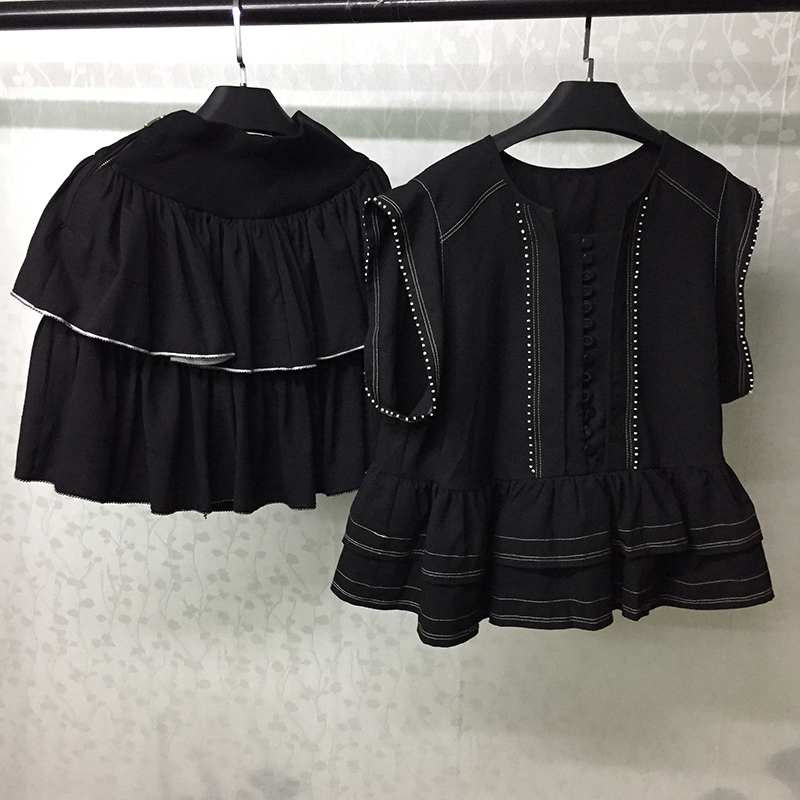 Femmes jupe ensemble noir Blouse chemise et Mini jupe costume 2019 été décontracté deux pièces ensembles femmes