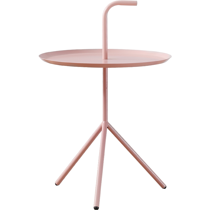 Nordic style iron side simple minimalist metal table bedroom balcony bed round corner table simple nordic style small coffee table wrought iron round tray folding side table tea table