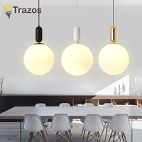 New Modern LED Pendant Lights E27 Round White grass Dining Light grass Lampshade Hanging Lamp Iron Suspension Lighting