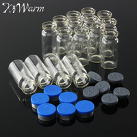 KiWarm 100pcs/set 10ml Empty Glass Boxes Vials with Stopper Seals Cosmetic Bottles DIY Clear Transparent Glass Jars Containers