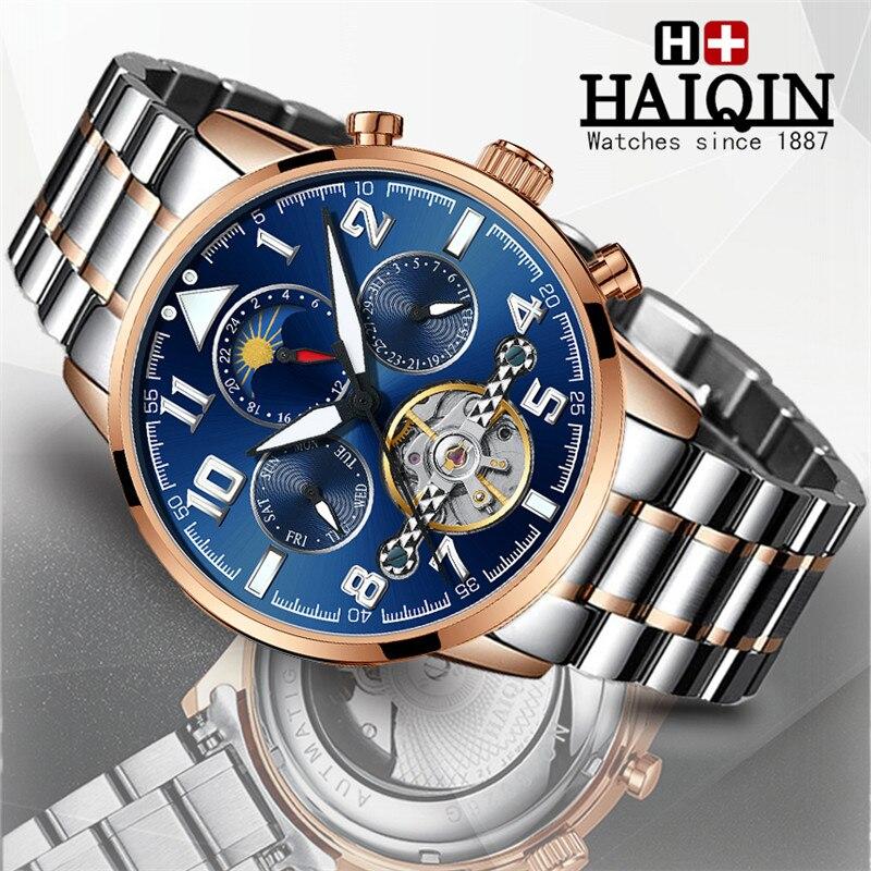 HAIQIN Assistir Homens Top Marca de Relógios dos homens Mecânicos Automáticos de Negócios de Luxo Tourbillon Relógio À Prova D' Água Militar Reloj Hombre