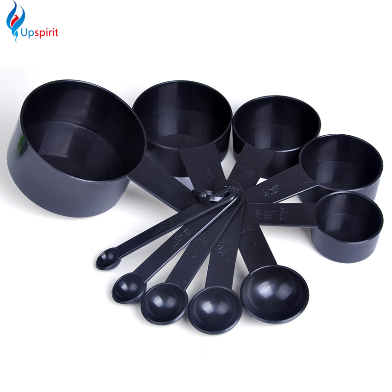 buy black plastic measuring cups 10pcs set measuring spoons scale kitchen. Black Bedroom Furniture Sets. Home Design Ideas