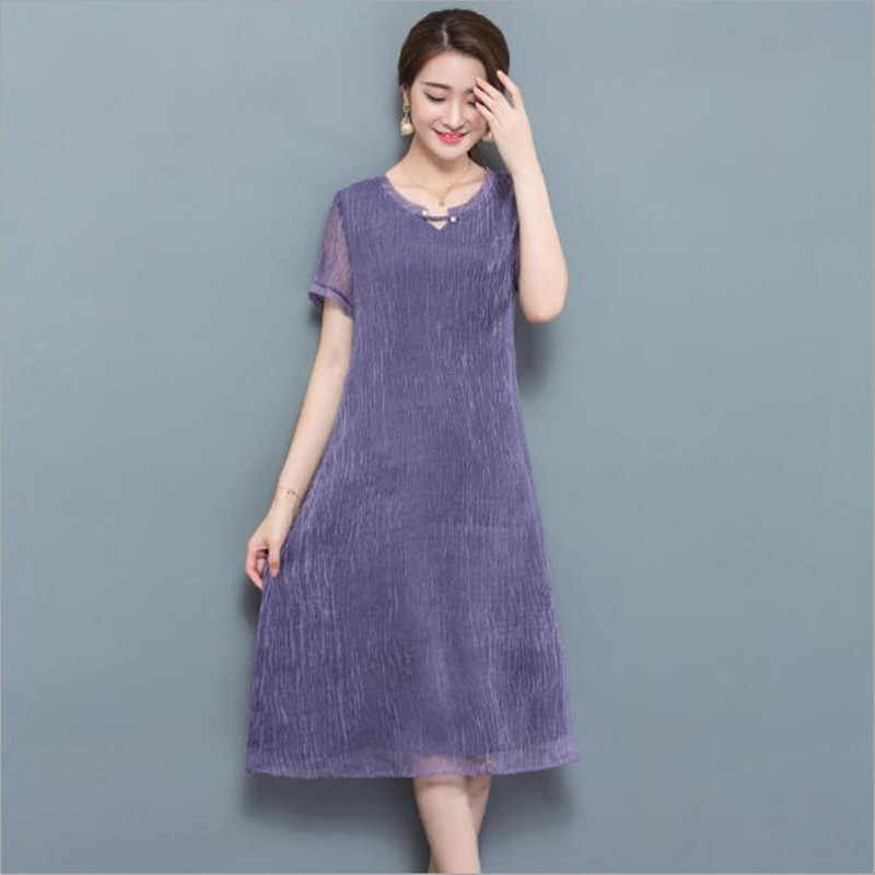 2018 New Summer Women Fashion Casual Solid Chiffon Dress Plus Size Slim Short Sleeve Chiffon Bohemia Long Dress Female QC518