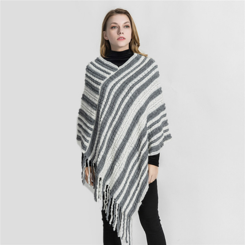 Eranlee Winter Hot Sale Striped Knitted Pashmina Women Scarf Shawl Wrap Lady Poncho Cape Cashmere Scarves Echarpe Hiver Femme