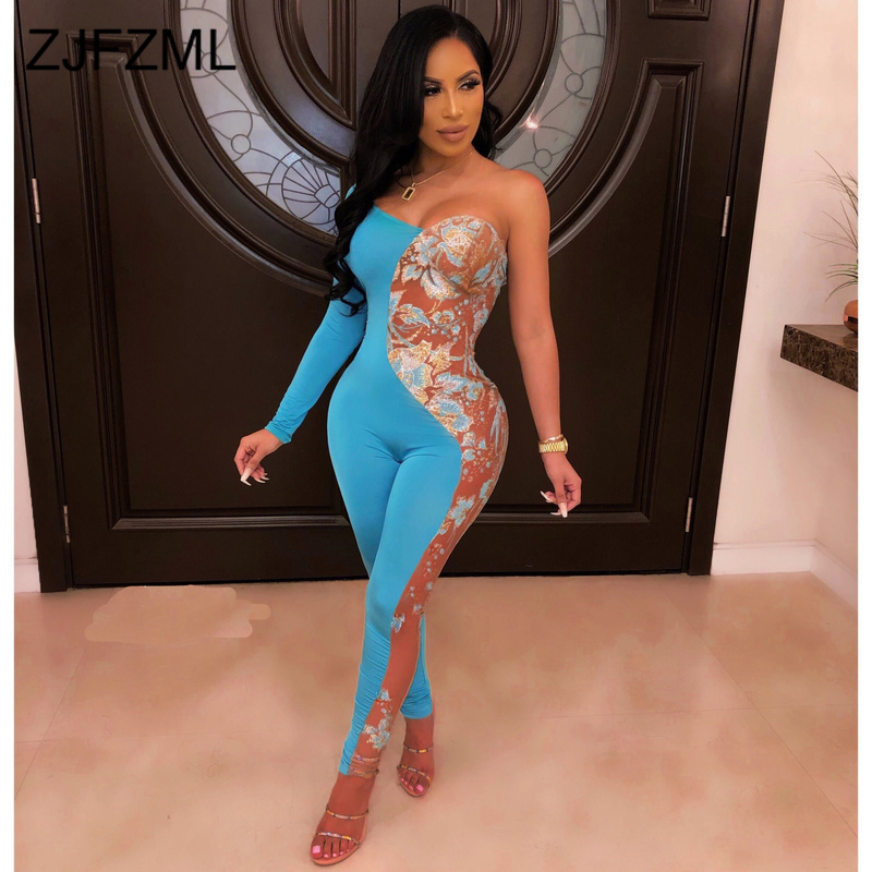 One Shoulder Sexy Rompers Women   Jumpsuit   Strapless Long Sleeve Bodycon Party Overall Summer Color Block Backless Skinny Catsuit