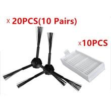 30 stks/partij 20 side brush (10 paar) & 10 HEPA filters voor ecovacs CR120 X500 X600 panda X500 filter Promaster Robot 2712