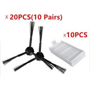 Image 1 - Ecovacs cr120 x500 x600 팬더 x500 필터 promaster 로봇 2712 용 30 개/몫 20 사이드 브러시 (10 쌍) 및 10 hepa 필터