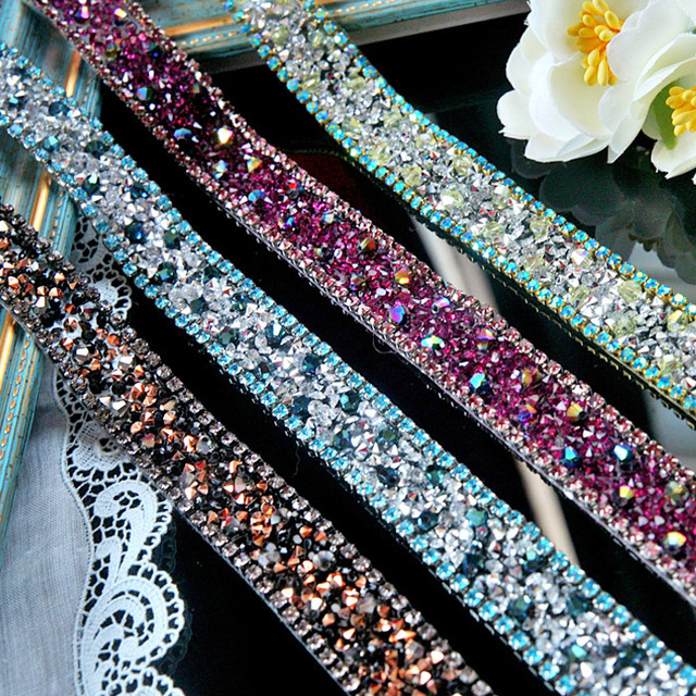 Crystal Rhinestone Beaded lace trim Diy craft clothing decorative  accessories iron on lace trimming motif patches for clothing 742ebc3a6187