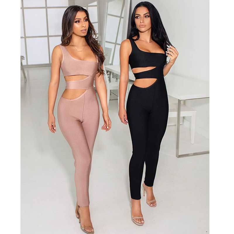 Celebrity kaki Ngiht Sangle Combinaisons Mode rouge Moulante Club Évider Noir Wholsale Femmes Bandage Sexy Élégant Xxnw4OrxAq