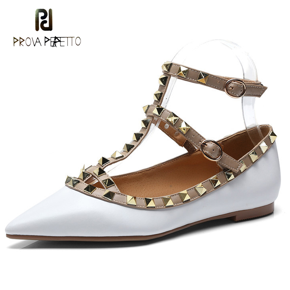 Prova Perfetto 2018 new rivet metal decor genuine leather women shoes t strap buckle pointed toe low heel single shoes flats prova perfetto genuine leather lace up square high heel women pumps pointed toe rivet gladiator shoes british style single shoes