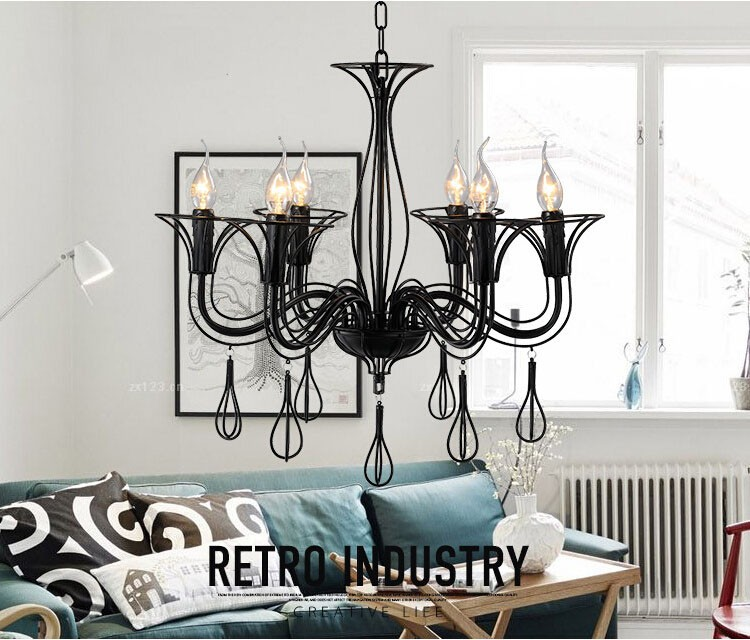 T American Country Black Pendant Light With E14 Bulbs Creative LOFT Iron Lamp For Bar Restaurant LED Candle Light Free shipping