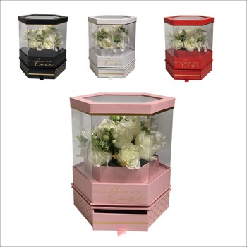 Hexagon can trun around With drawer PVC florist packing flowers gift box Watch the Video in Your PC first,Valentine's Day box