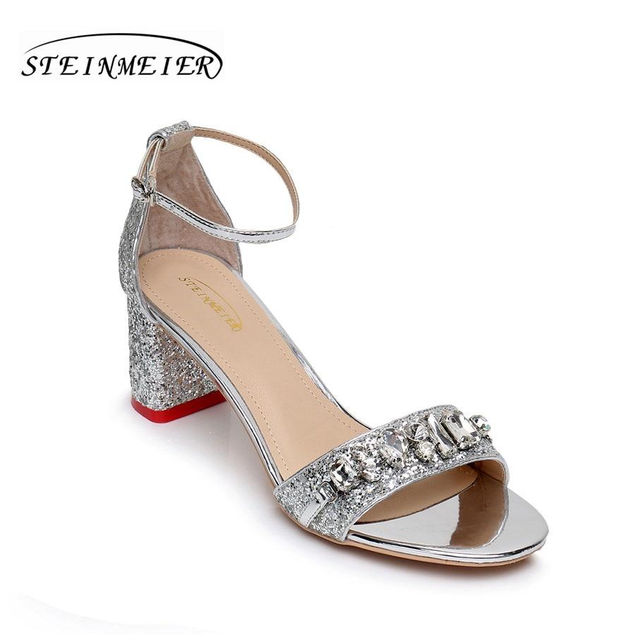 Cm Silver Épais Pompes 5 Talons Carré Femmes Chaussures Sandales QCthrdxoBs