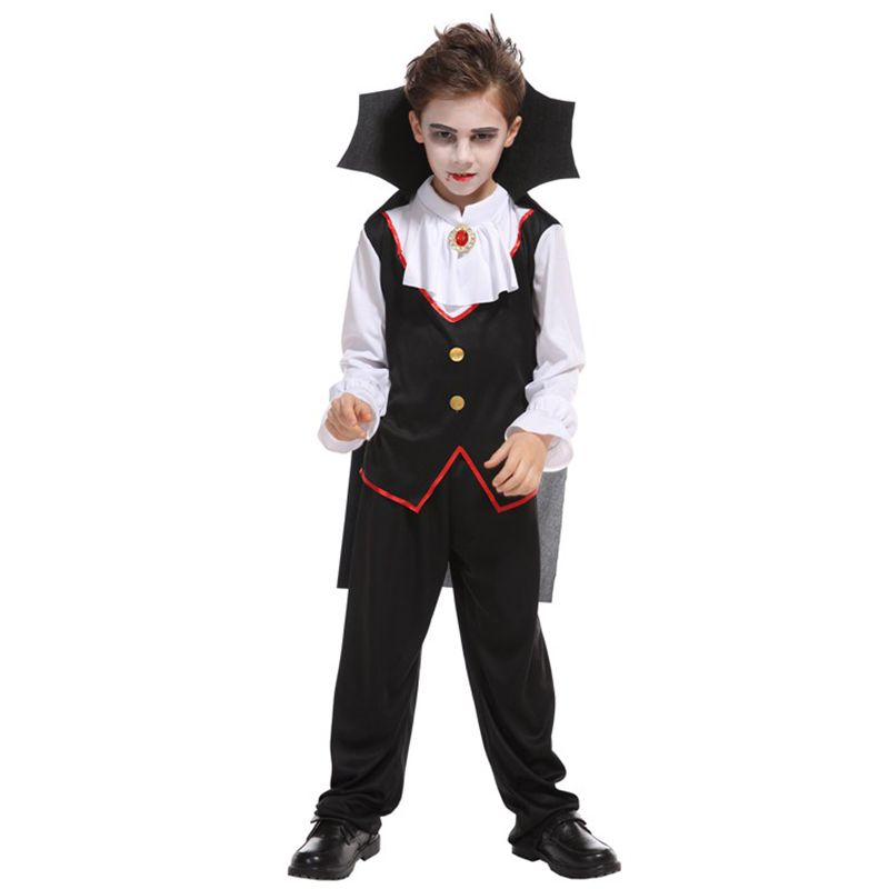 HUIHONSHE Carnival Party Halloween Kids Children Count Dracula Gothic Vampire Costume Fantasia Prince Vampire Cosplay for Boys