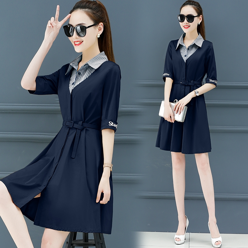 2019 New Suitable for women elegant dress High waist lapel dresses trend Summer Shirt dress female Korean fashion clothing 2305 5